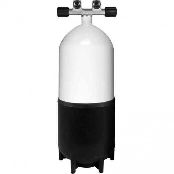 BTS Stahlflasche - 230 Bar konkav - Doppelventil feststehend